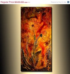 ORIGINAL Floral Abstract Contemporary Art by newwaveartgallery, $400.00