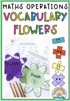 Maths Operations Vocabulary Flowers - A perfect lesson for when students are learning about math word problems, as it will assist students to become better at identifying and understanding what words mean and which operation it is referring to. Student can keep these vocabulary flowers in their books to use as a reference throughout the year. Addition, Subtraction, Multiplication, Division Vocab. #rainbowskycreations School Resources, Teaching Resources, Teaching Ideas, Primary Maths, Primary Classroom, Student Learning, Teaching Math, Grade 3, Fourth Grade
