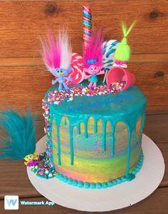 Rainbow Troll Drip Cake by Sarah s Custom Creations! Princess Poppy Birthday Cake, Frozen Birthday Party, 4th Birthday Parties, Trolls Birthday Party Ideas Cake, 3rd Birthday, Birthday Cakes, Chocolate Christmas Cookies, Poppy Cake, Second Birthday Ideas