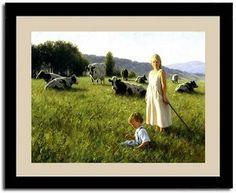 Tending Girl Cow Robert Duncan  Art Print Framed