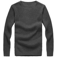 Fashion Mens Slim Sweater Casual Knit Pullover Long-sleeve Sweater at Banggood