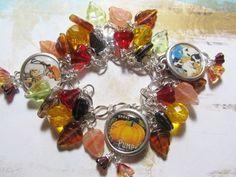 Vintage Fall Days Altered Art Charm Bracelet  ooak ebsq  by Bostoncharm