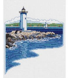"""White Lighthouse Counted Cross Stitch Kit-7""""X9"""" 14 Count & counted cross stitch kits at Joann.com"""