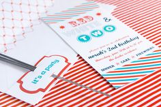 red, white, and two party invitations // via armelle blog