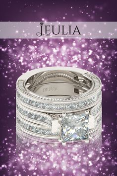 3PC Princess Cut Created White Sapphire Sterling Silver Women's Ring #jeulia