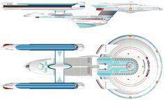 Dorsal and Starboard Schematics of U.S.S. Enterprise NCC-1701 B