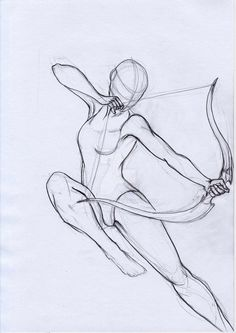 Figure Drawing Reference Pose Study Archer by aryaenne.devianta… on – - Staggering Drawing The Human Figure Ideas Pencil Art Drawings, Art Drawings Sketches, Easy Drawings, Art Illustrations, Body Sketches, Fantasy Drawings, Illustration Art, Figure Drawing Reference, Art Reference Poses