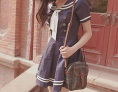 This is so cute to me <3 ! Simple and dressed-down sailor dress is casual and adorable!
