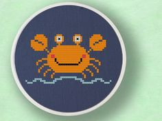 Cute Crabby Cross Stitch PDF Pattern by andwabisabi on Etsy, $3.00