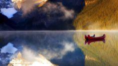 Mountains landscapes nature Canada Alberta boats lakes Banff National Park reflections wallpaper | 1920x1080 | 240016 | WallpaperUP