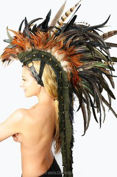 """Feather Mohawk / Headdress - """"The Warrior: Fur & Feathers"""". Description from pinterest.com. I searched for this on bing.com/images"""