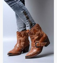 real leather rivet metal buckle cowboy boots