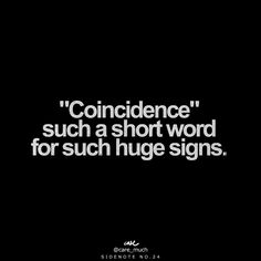 """Coincidence"" - such a short word for such huge signs - sidenote no. 24"