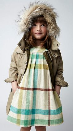 Burberry Childrenswear - COTTON CHEESECLOTH CHECK DRESS & FAUX FUR HOOD PARKA JACKET