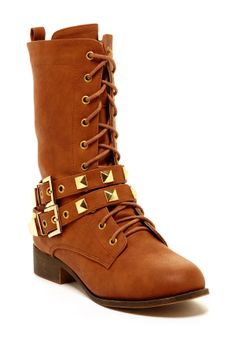 Elegant Anthy Lace-Up Studded Boot on HauteLook