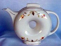 vintage jewel tea NALCC Autumn Leaf Donut Tea Pot 1993 (Jewel Tea) at The Jewel Lady