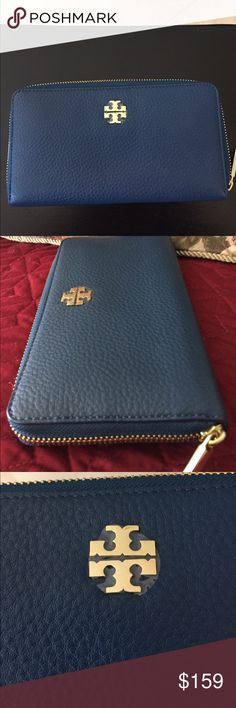 "🆕Tory Burch ""Mercer"" zip wallet in TIDAL WAVE Beautiful Blue (Tidal Wave) Pebbled leather Continental wallet has 8 slots plus, to hold your credit cards and ID. The center has a zip compartment for your change. Has room for your bills/cash and cell phone. Zip around closure... New, never used, with tag. Tory Burch Bags Wallets"