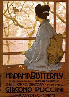 PANTAREI blog di #giuseppinabattaglia manifesto della #madamebutterfly del 1904 a #Brescia #opera di #GiacomoPuccini