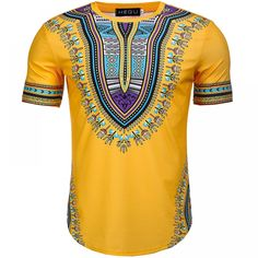 2018 Summer African Print Men Dashiki Tee Shirt Round Neck Yellow Colorful Short Sleeve pullover Festival Outfit For Adult Men Dashiki For Men, African Dashiki, Casual Shirts, Tee Shirts, Dashiki Shirt, African Print Clothing, African Shirts, African Dresses For Women, Yellow Shorts