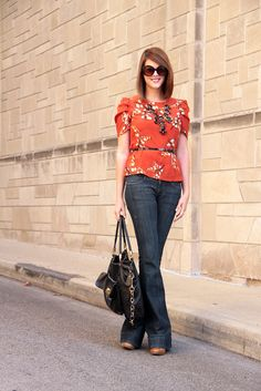 What to wear with an orange top, How to wear flare jeans, What shoes to wear with flare jeans, rust orange, Jessica Quirk, What I Wore, @whatiwore, Personal Style Blogger,