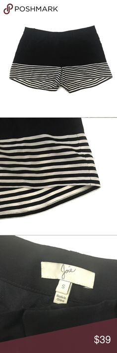 """Joie Black With Ivory Stripes 100% Silk Shorts •Condition: GREAT! Used gently with minimal signs of wear from normal use •No stains or defects •Comes from a pet and smoke free home Measurements (in inches): Waist: 33"""" Rise: 9"""" Inseam: 3"""" Joie Shorts"""