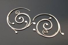 Large sterling silver spiral thread earrings, Rachel Wilder handmade Jewelry