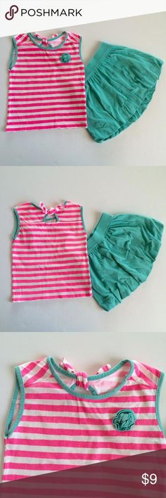 Circo Tanktop & Bubble Skirt Cute pink and white striped shirt with teal accents. Teal bubble skirt to match.  Listing in GUC due to mild wash pilling. Circo (Target) Matching Sets