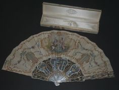 EXQUISITE ANTIQUE FRENCH CARVED MOTHER OF PEARL PAINTED SILK FAN DUVELLEROY