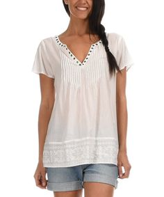 Another great find on #zulily! White Pleated Notch Neck Top #zulilyfinds