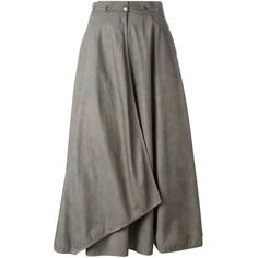 Krizia Vintage Long Wrap Skirt ($273) ❤ liked on Polyvore featuring skirts, bottoms, grey, grey skirt, long gray skirt, cotton skirt, cotton wrap skirt and high waisted long skirt