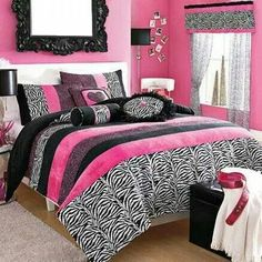 Pretty teen room idea  Zebra Pink