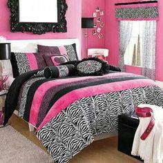 Pretty teen room idea  Zebra Pink