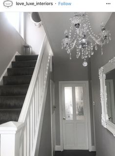 Narrow white hallway in 2019 hallway lighting ideas дизайн д Grey Carpet Hallway, Hallway Walls, Upstairs Hallway, Carpet Stairs, Grey Stair Carpet, Grey Wallpaper Hallway, Grey And White Hallway, Gray Hallway, Upstairs Landing