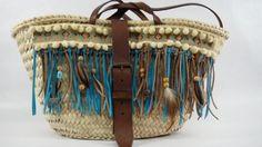 Capazo hebilla étnico serie flecos y plumas
