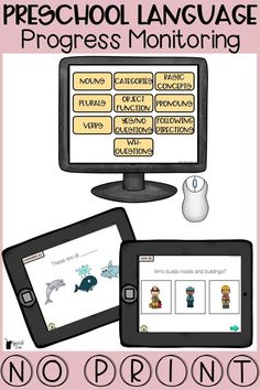 This versatile tool for preschool language is a must have in your speech room and classrooms. Perfect for speech therapy, special education, and regular education classrooms. Norm-based. Monitor progress, screen, assess, drill, and do everyday therapy with this progress monitoring tool that is completely no print! Included editable data sheets.  Targets include expressive and receptive language targets for nouns, categories, basic concepts, pronouns, verbs, wh questions, and more! Click for info
