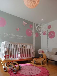you can never go wrong with pink and gray. I love the trees on the wall. oh how cute for a liitle girls room.  easy to change and make for a boy too.