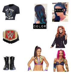 """""""Winning the women's championship in a fatal four way against Sasha Banks, Becky Lynch and Bayley"""" by ashleighreigns156 ❤ liked on Polyvore featuring WWE"""