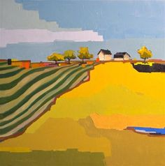 """Geometric Farm"" - Original Fine Art for Sale - © Donna Walker"