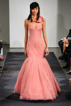 Chiffon trumpet ball gown with lace texture details along skirt.  Beautiful sweetheart neckline!   Vera Wang FW14 Dress 6