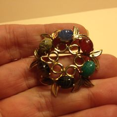 Vintage Signed Glass SCARAB BEETLE Round BROOCH Pin Gold Tone Costume Jewelry