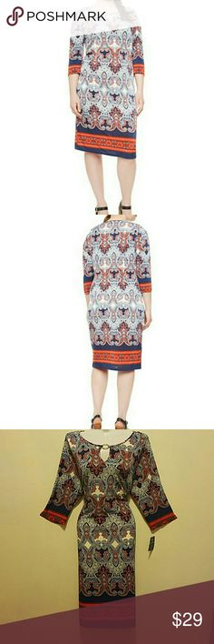 Beautiful plus size midi dress NWT This is a truly gorgeous dress, with Indian print in red colors with blue and white featuring keyhole cutout in front,made from stretchy material and summery print. SEE PIC 4 FOR MEASUREMENTS PRICE FIRM UNLESS BUNDLED. RETAILS FOR 65$ Dresses Midi