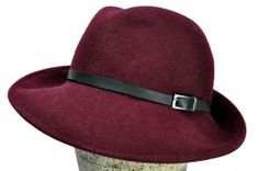 Maria Wool Felt Fedora Hat in Burgundy with Leather Strap