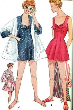 1950s Womens Swimsuit Simplicity 4307 One Piece Bathing Suit Fitted Bra Beach Coat  Vintage Sewing Pattern Bust 34