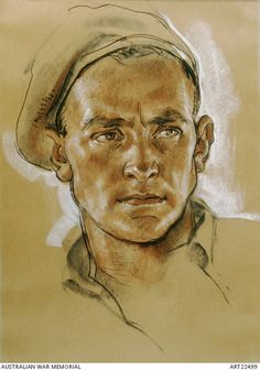 Portrait of Major George R Warfe from the Australian Independent Company in Missim, Bulolo Valley, Komiatum Ridge, New Guinea. Portrait Sketches, Portrait Illustration, Pencil Portrait, Art Drawings Sketches, Portrait Art, Pastel Drawing, Pastel Art, Painting & Drawing, Life Drawing