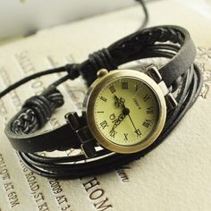 Vintage Ladies Womens Genuine Leather Band Buff Hemp Bracelet Bangle Wrist Watch