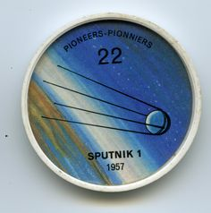 Jell-O Coin 22 - Sputnik 1 (1957) - Russia stole a march on the rest of the world on October 4, 1957, when she succeeded in orbiting a space vehicle. Sputnik 1 (meaning Fellow Traveller) circled the globe every hour and 35 minutes, reaching a maximum height of 560 miles. On the same day, ironically, Canada launched her first supersonic aircraft, the Arrow fighter. Specifications: Diameter 23 inches. Weight 184 pounds. Launched by 3-stage rocket with top speed of 17,897 mph.
