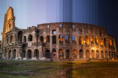 Colosseum, Rome, Italy; Time Slice is an ongoing series of photographs by Richard Silver that explores how iconic buildings and monuments change in appearance from day into night