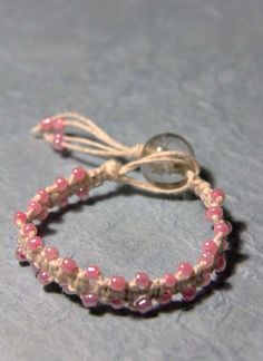 pink lace white hemp bracelet.