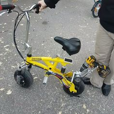 Not at all drywall related but still very cool! This little @dewalttough bike is powered completely by a 60V Flex Volt battery and DCD996 drill! Pretty amazing! One of the guests here wanted to try it and almost flipped over backwards! Haha! The power of