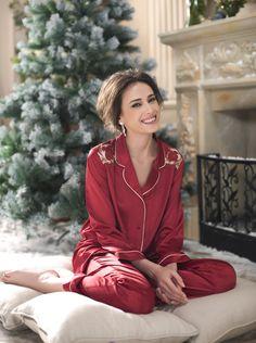 Red silk pyjamas by Aimer